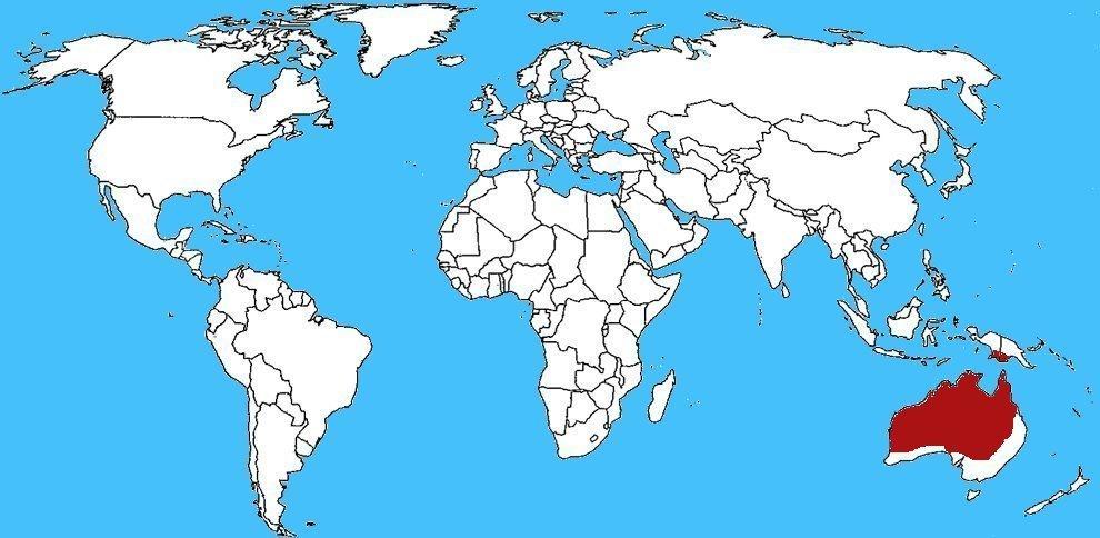 Mappa diffusione Serpente bruno reale - Pseudechis australis