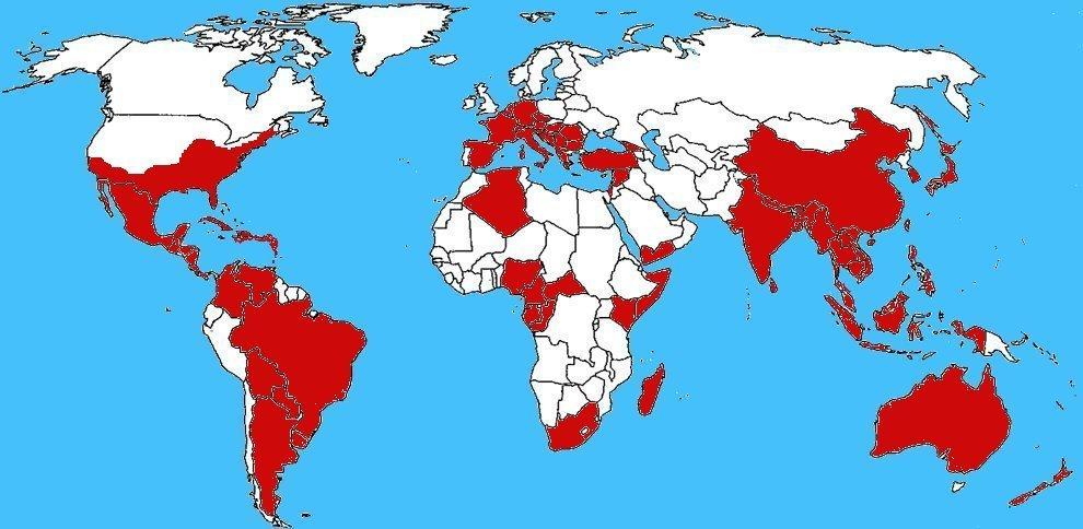 Mappa diffusione Zanzara tigre - Aedes albopictus