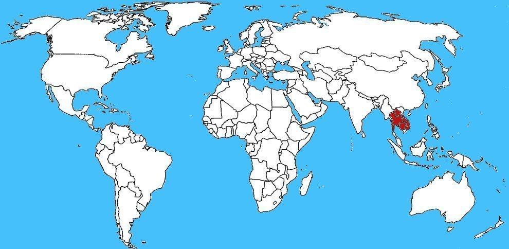 Mappa diffusione Cobra sputatore indocinese - Naja siamensis