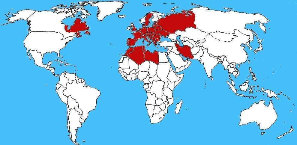 Mappa diffusione Bombice dal ventre bruno - Euproctis chrysorrhoea