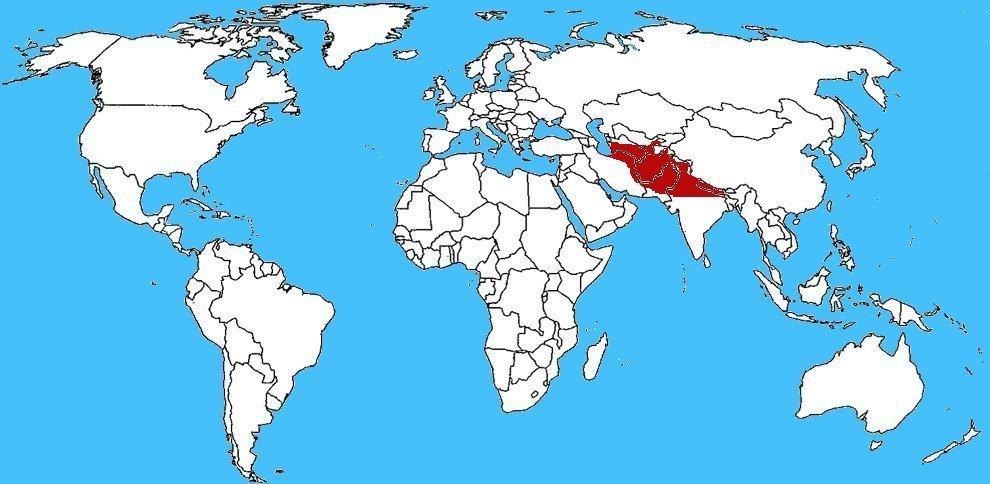 Mappa diffusione Cobra del Caspio – Naja oxiana