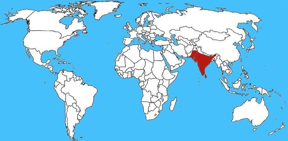 Mappa diffusione - Bungarus caeruleus, Krait Indiano
