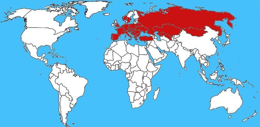 Mappa diffusione Mosca Spagnola - Lytta vesicatoria
