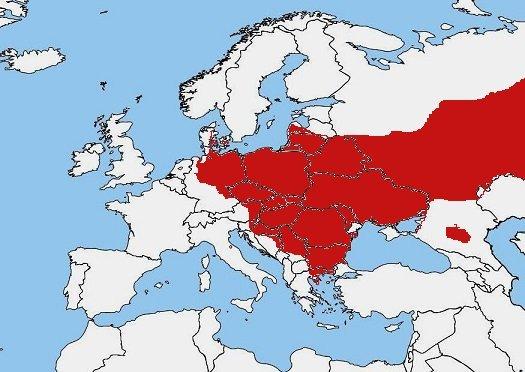 Mappa diffusione Ululone dal ventre rosso – Bombina bombina